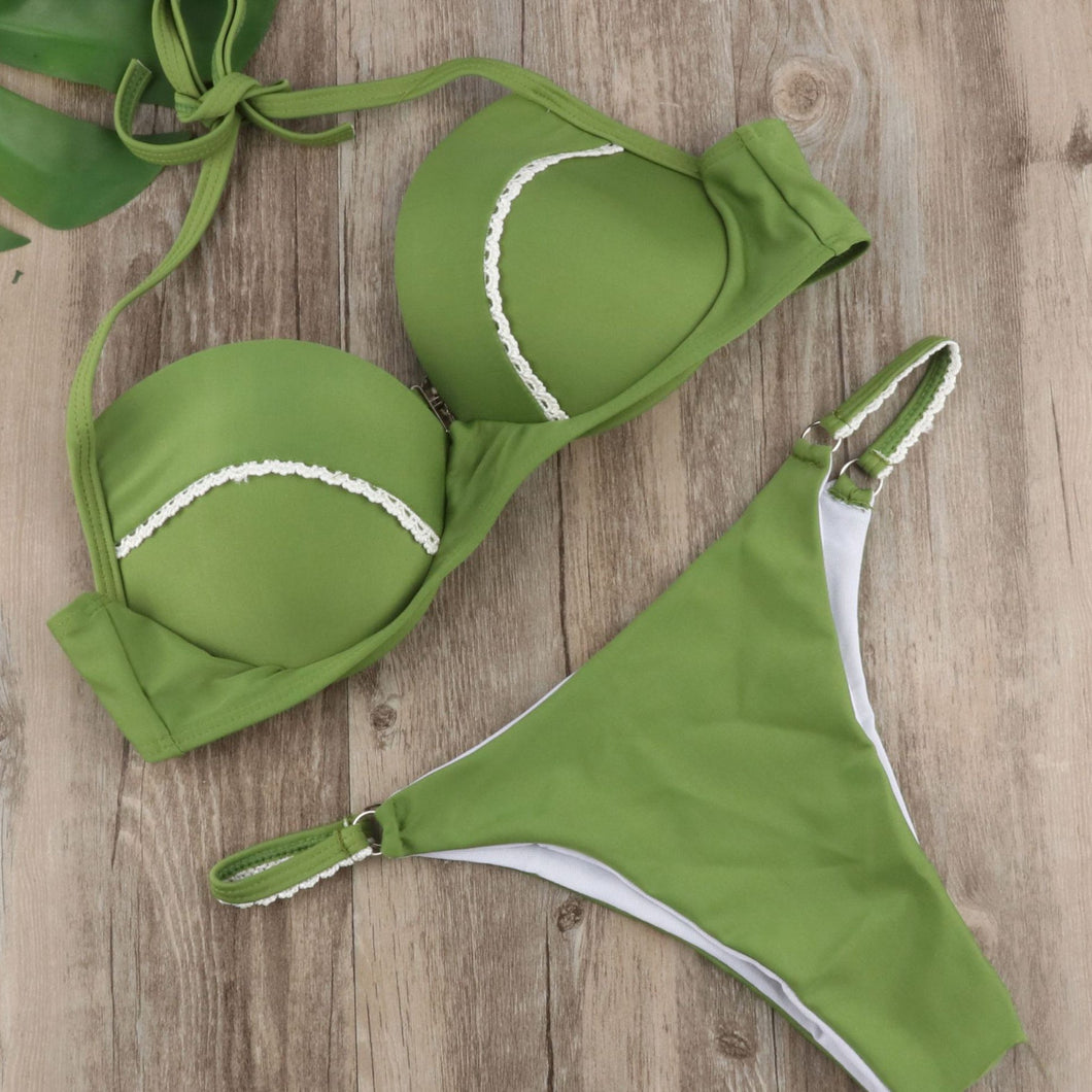 Green Sexy Halter Beach Bikini Swimwear