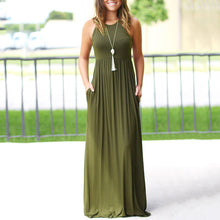 Solid Color Round Collar Sleeveless Long Skater Dress