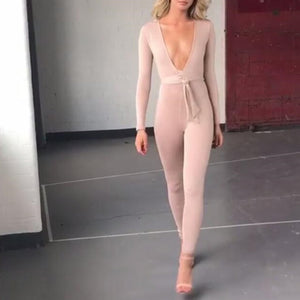 Deep V Bright Silk Cloth Straps Jumpsuit With Belt