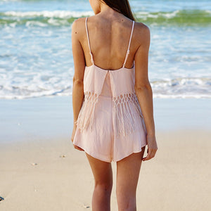 Halter Lace Stitching Sexy Shorts Strap Vacation Dress Playsuit