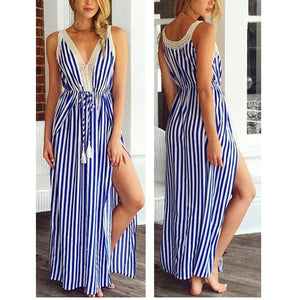 Sleeveless Striped Printed Sexy V Collar Split Vacation Dress