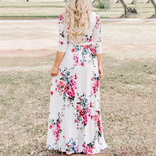 Flower Printed V Collar Vacation Dress With Belt