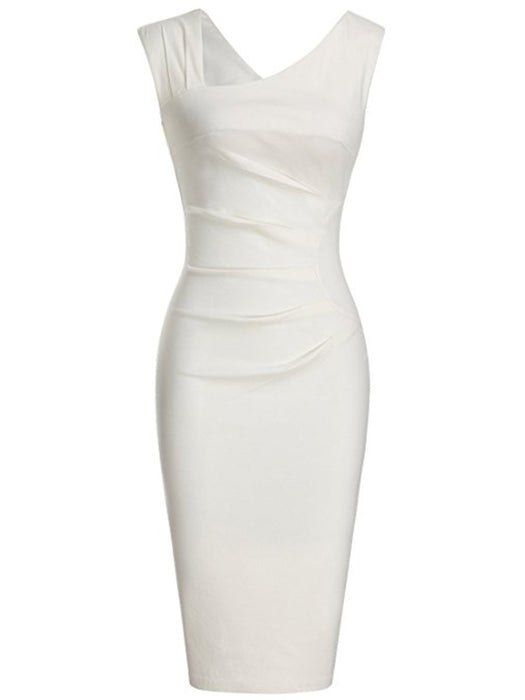 ... Asymmetric Neck Plain Blend Bodycon Dress ...