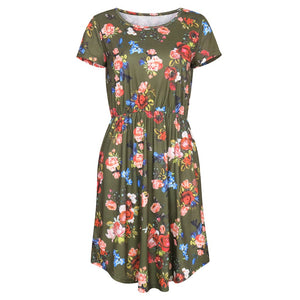 Floral Printed Short-Sleeved Round Collar Vacation Dress