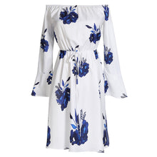 Sexy Halter Cutaway Collar Speaker Sleeve Printed Vacation Dress With Belt