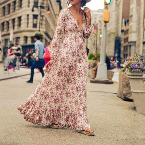 Sexy Deep V Collar Bohemia Floral Lantern Sleeve Expansion Vacation Dress