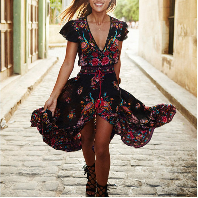 Spring Sexy V Collar Short-Sleeved Retro Floral Printed Expansion Vacation Dress
