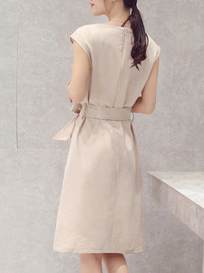 Round Neck  Belt Draped Pocket  Plain Shift Dress