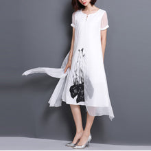 Retro Printed Silk Short-Sleeved Stitching Linen Shift Dress