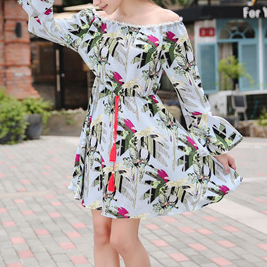 Cutaway Collar Printed Speaker Sleeve Long-Sleeved Vacation Dress With Belt