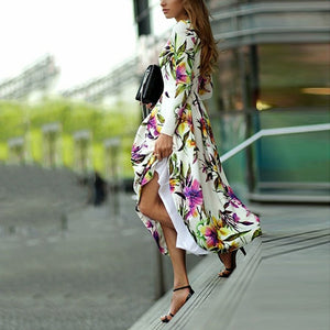 Long-Sleeved Floral Printed Round Collar Expansion Vacation Dress