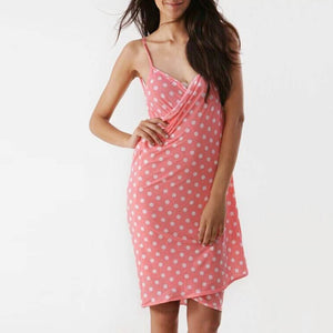 V Collar Sleeveless Printed Strap Vacation Dress