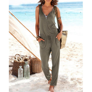 Sexy V Collar Sleeveless Slim Jumpsuit With Pockets