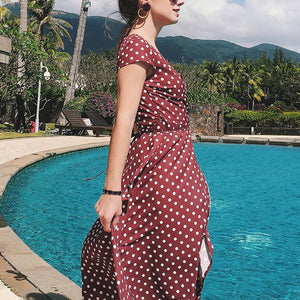 Dot Printed Short-Sleeved V Collar Split Irregular Vacation Dress