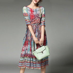 Spring  And Summer Printed Chiffon Dress