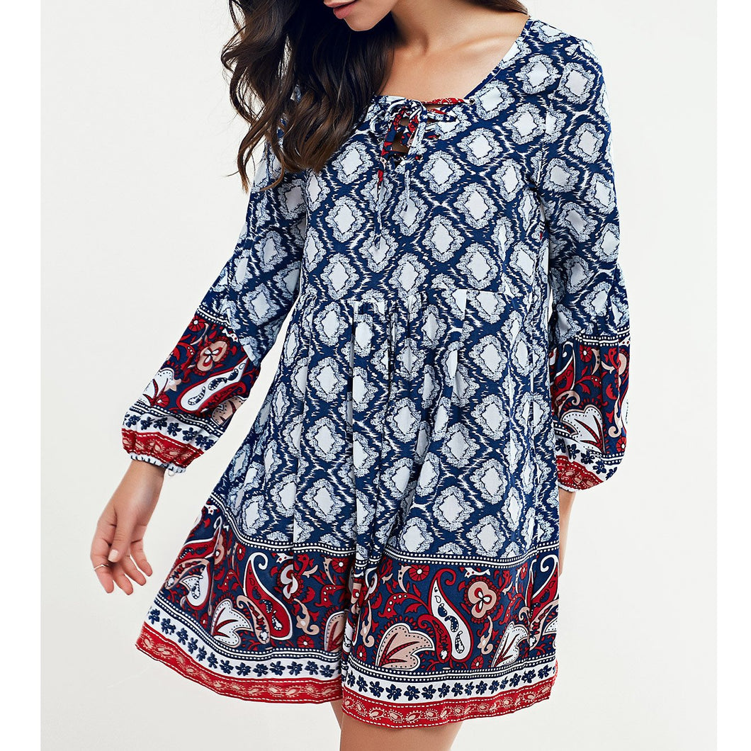 Ethnic Wind V-Neck Printed Top
