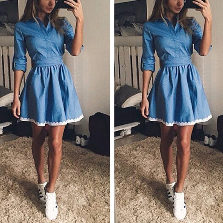 Spring Fashion Lace Denim Dress