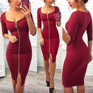 Spring Casual Knitting Sexy Club Blue Red Black Mini Bodycon Dress