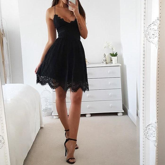 Sexy V Neck Plain Sleeveless Slip Dress