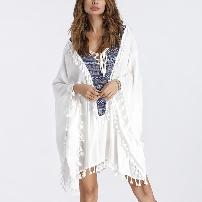 Bohemia V Collar Tassel Beach Vacation Smock