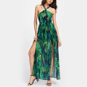 Bohemia Printing Split Halter Strap Beach Dress Vacation