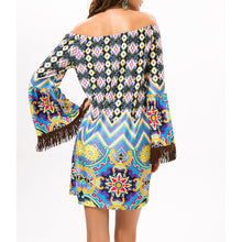 Bohemia High Waist Printing A Word Collar Beach Vacation Dress