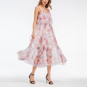 Bohemia Frilled Printing Strap Chiffon Beach Vacation Dress
