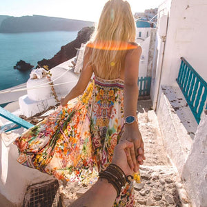 Bohemia Sexy Strap Floral Printing Beach Vacation Dress