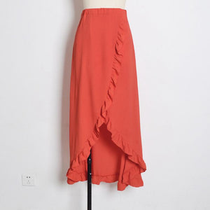 Bohemia Irregular Lacing Ruffle Split Beach Vacation Skirt