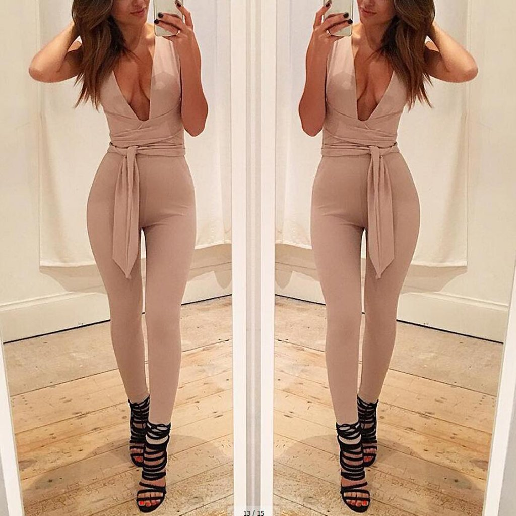 Sexy Deep V Collar Sleeveless Solid Color Slim Jumpsuit With Belt