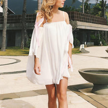 New Chiffon Flying Sleeve Off Shoulder Dress