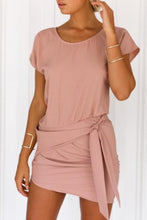 Round Neck  Asymmetric Hem  Belt  Plain  Batwing Sleeve  Extra Short Sleeve Casual Dresses