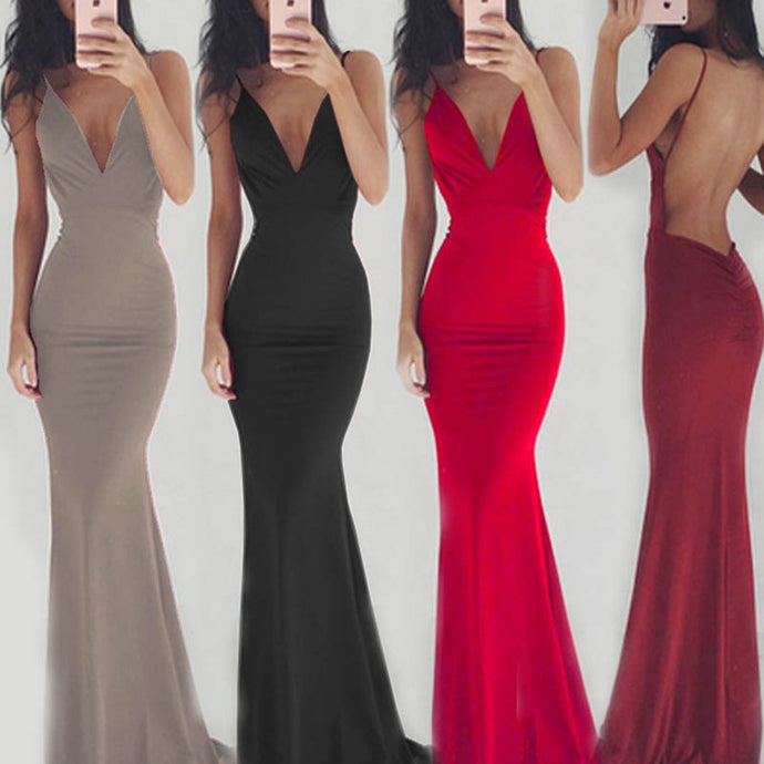 Elegant Sexy Deep V Collar Sleeveless Open Back Maxi Slip Dress