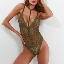 Sexy Deep V Collar Lace Hollow Strap Bodysuit