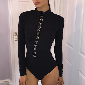 Sexy Round Collar Pure Color Long-Sleeved Bodysuit With Buckle