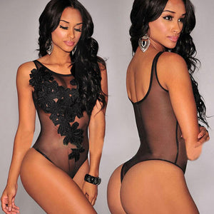 Embroidered Piece Sexy Pajamas Bodysuit