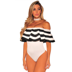 Sexy Striped Ruffled Bodysuit