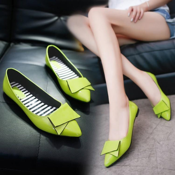 0a44adfdf7a Fashion Pure Color Pointed Flat Shoes