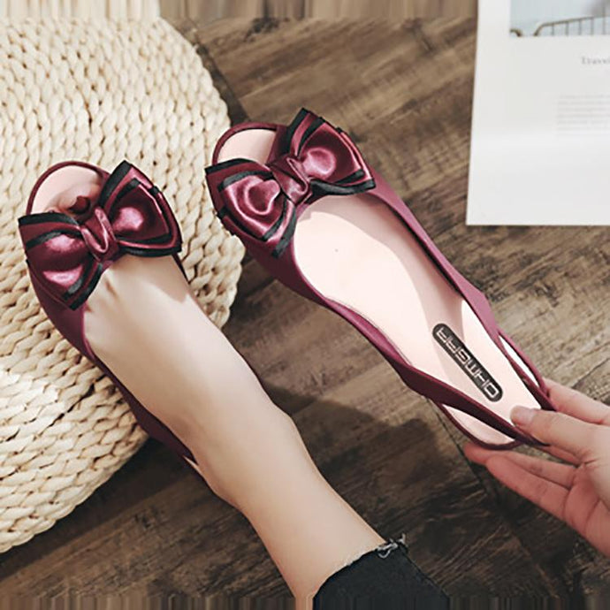 Elegant Pure Color Hollow Flat Shoes With Bow-Knot Shoes