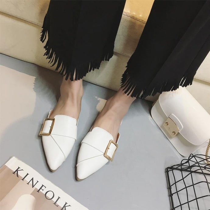 76e3f7d08f7 Fashion Pure Color Pointed Mueller Shoes