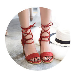 7801aab3d1d Fashion Pure Color Cross Belt Thick Heel Sandals