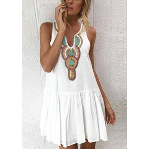 V Neck  Single Breasted  Printed  Sleeveless Casual Mini Dresses