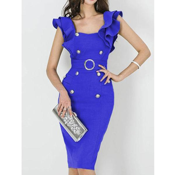 Scoop Neck  Plain Bodycon Dress