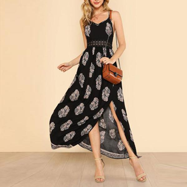 Sexy Sling Floral Printed Split Maxi Dress