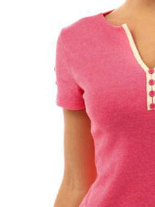 Summer  Polyester  Women  V-Neck  Decorative Button  Plain Short Sleeve T-Shirts