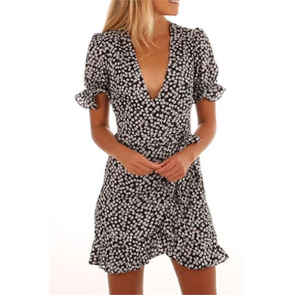 Deep V Neck Polka Dot Short Sleeve Casual Mini Dresses