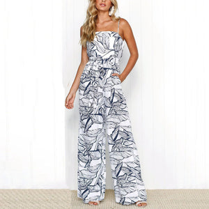 Sexy Fashion Sleeveless Floral Print Jumpsuit