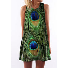 Round Neck  Peacock Feathers Prints  Sleeveless Casual Min Dresses