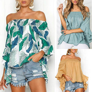 Off Shoulder  Backless  Abstract Print  Shirt