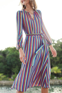 Sexy Stripe Long Sleeves Vacation Maxi Dress